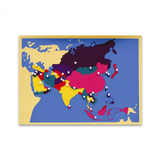 Popular Geography Montessori Classroom Kids Wooden Educational Montessori Toys Puzzle Map Of World