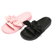 2017 Sexy Ladies Pink Satin Babouche Sandals PU Sole Slip On Sliders Bedroom Women Bow Slippers Shoes
