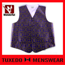 Classical Mens Purple Paisley 4 buttons Vest
