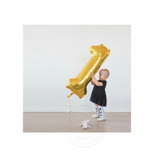 40inch big number 1 gold sliver foil baby shower balloon for 1st birthday party decoration