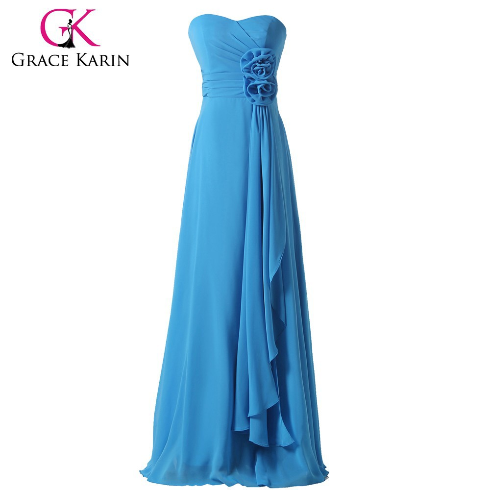 Grace Karin Strapless Off Shoulder Sweetheart Blue Chiffon Long Bridesmaid Dresses CL3420