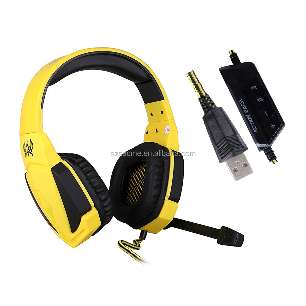 G4000 USB wired Stereo Gaming Headset with Earphone LED Volume Control for PC Games