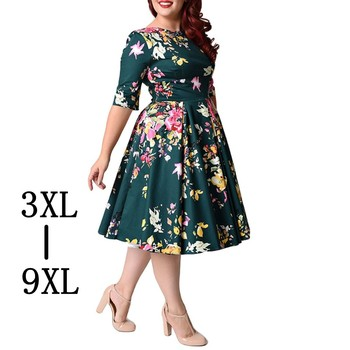 Large Size 6XL 7XL 8XL Women Dress Vintage Zipper Floral Print Tunic Big Swing Dress Plus Size Dresses For Women 4XL 5XL