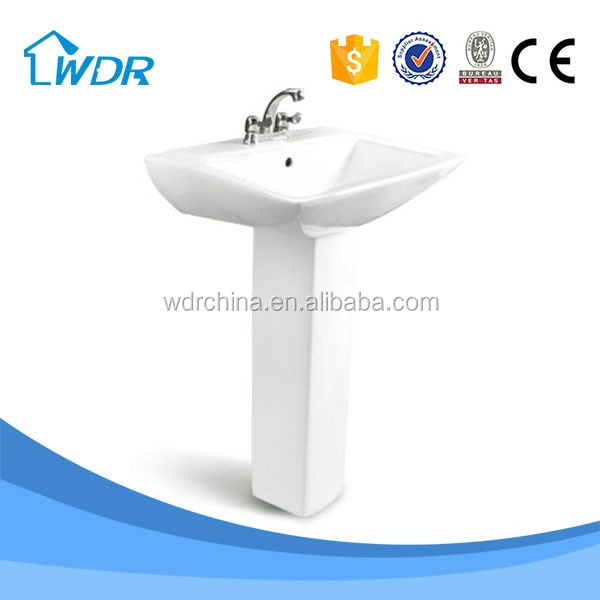 Square shape big washing hands ceramic pedestal basin and toilet sets