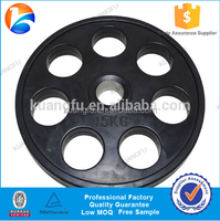 Golden China supplier wholesale fitness equipment manfacturer Black seven holes rubber coated weight plate with custom logo