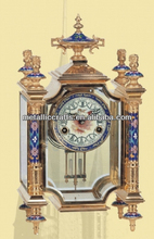 The Imitation Antique Cloisonne Enamel French Four Glass Mantel- Brass Clock JG1004A