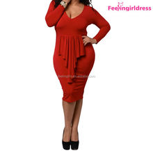 Red V-neck Long Sleeve Bodycon Womens 4xl Plus Size Dress