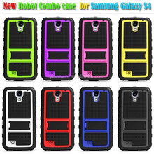 robot style 2 in 1 silicon+pc bracket combo waterproof protective cases for samsung galaxy S4