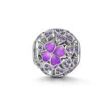 """Lucky Clover"" 925 Sterling Silver Openwork Charms ""Heart Jewelry"" Lightning Deals Purple Clover Charms ""Best Graduation Gifts"