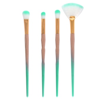 Fashionable Travel Synthetic Hair 4pcs Green Colorful Makeup Brush Set