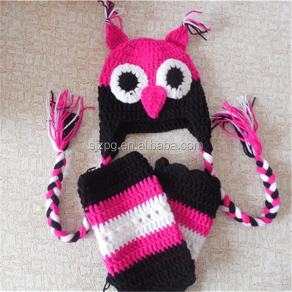 owl animal hat pink color crochet knitting leg warmers for kids