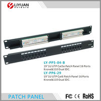 LY-PP5-04-B/LY-PP6-29 16 Port RJ45 Cat.6 UTP Dual IDC Krone Patch Panel