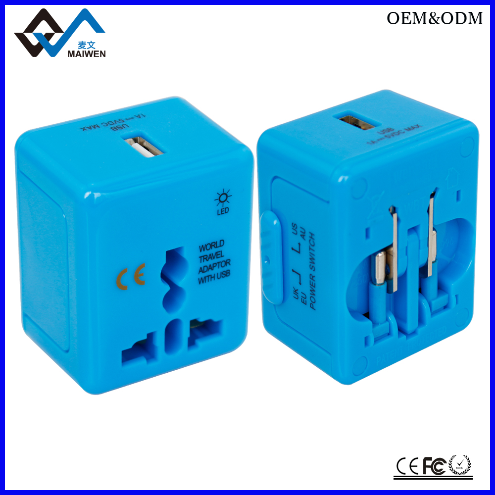 Customized LOGO World Travel Adapter With USB Port for Promotional Gift