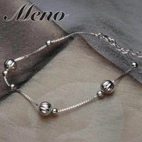 Meno 925 silver bracelet lady jewelry Korean style fashion all-match bead necklace