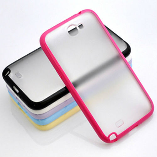 TPU Bumper Frame PC Hard Back Crystal Case Cover for Samsung Galaxy Note 2 II N7100