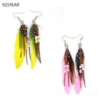 colourful feathers fashion earring designs new model with ball