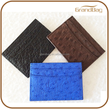 new arrival ostrich leather credit card case holder wallet