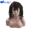 Top quality human hair Virgin Remy lace front wig with bangs in stock