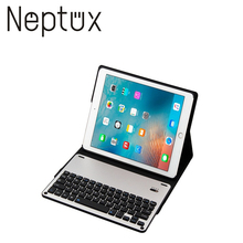 Aluminum Alloy Panel PU Leather Cover case Wireless Bluetooth Keyboard for iPad 9.7