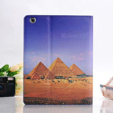 popular romantic landscape pattern leather case for iPad 4 colorful striped pattern case
