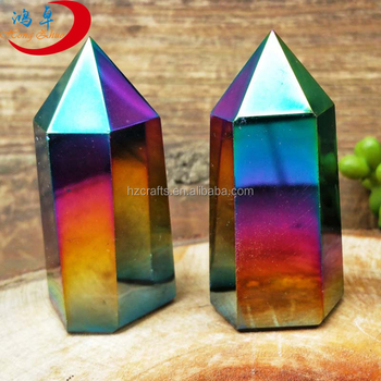 Natural Stone Rainbow Quartz Crystal Point