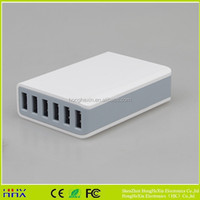 Full capacity 10A 6 Port USB Desktop Rapid Travel Charger Intelligent USB Wall Charger