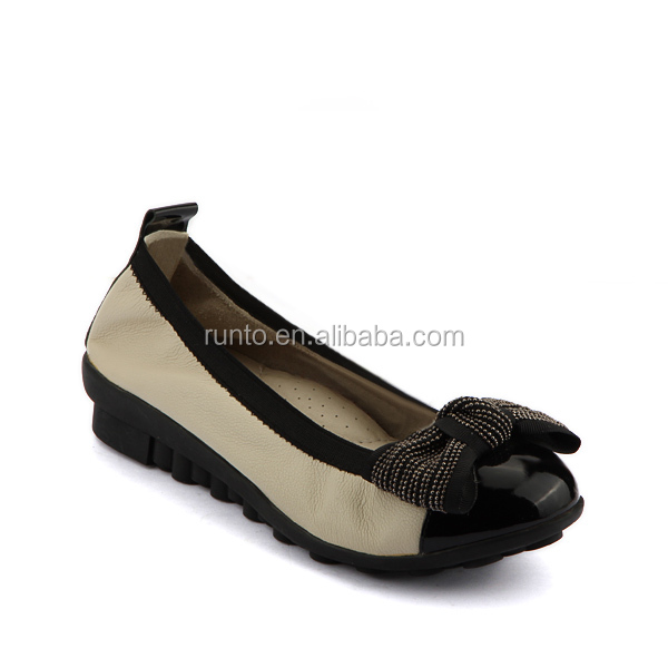 Shoes manufacturer wholesale fine handmade elegant design genuine leather elastic comfortable casual ladies shoes