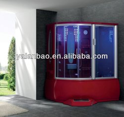 Jetted Shower Cabin Home Made Steam Room Sliding Glass Door Steam Shower Room with Spa tub TV/MP3 RED 2013 G159