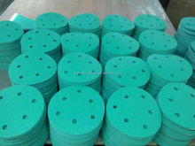 "China manufacture Green PE hook and loop5"" 6"" film backing velcro disc for auto and surface ,wood and stone material"