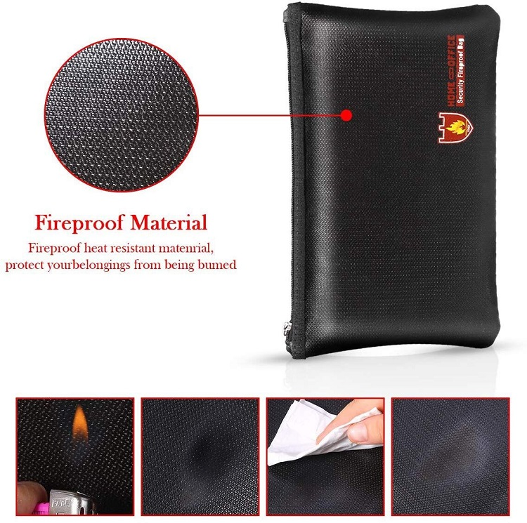 Small Fire Vault Cash Fireproof Envelop Pouch For Jewelry/Passport/Money With Lock