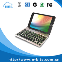 Gold/ silver/ black aliminium bluetooth 3.0 colorful backlit keyboard for ipad mini