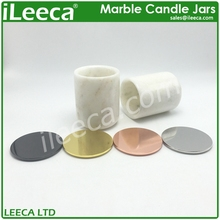 Carrara white marble stone candle jars with various colors lids