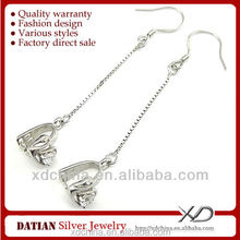 XD C591 925 sterling silver swan cz ear thread with clasp accessories to make earrings