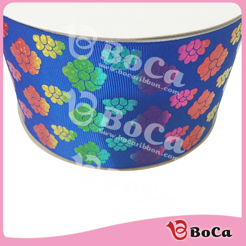 Wholesale rainbow floral hologram Ribbon in STOCK