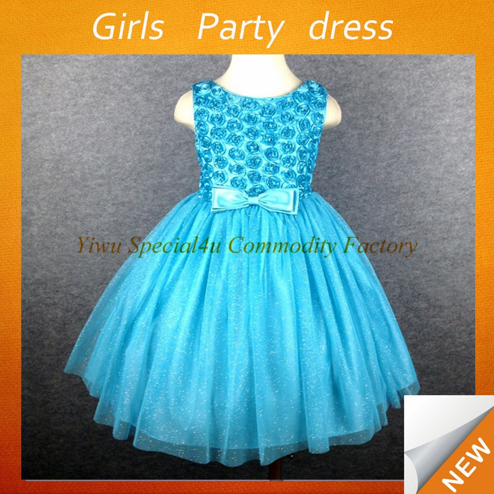 Rose flower party frocks royal blue party girls princess dresses CDT-204