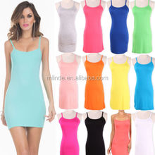 NEW Women Sexy Slip Dress Stretchy Camisole Spaghetti Strap Long Bottom Tank Top Womens Casual Long Stretchy Tank Top Mini Dress