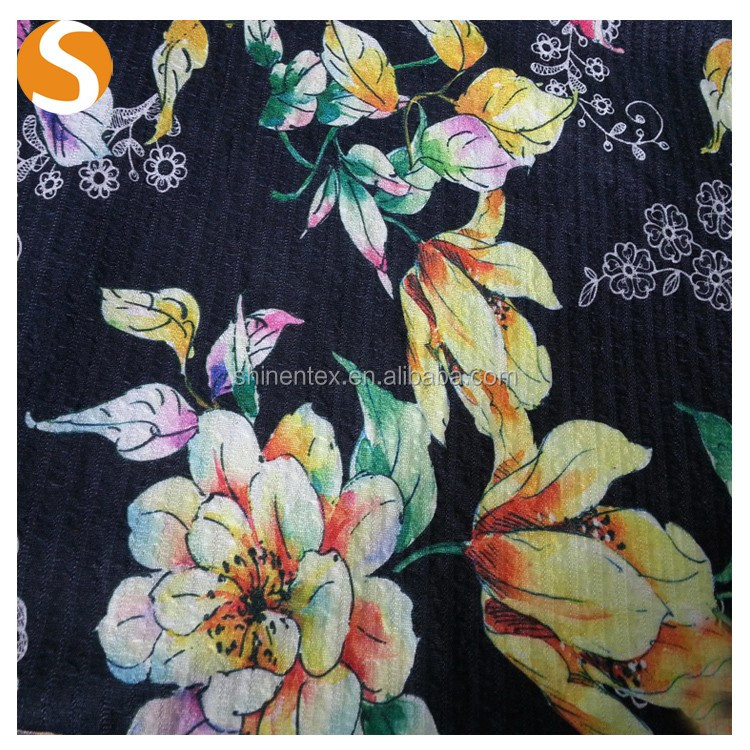 Latest design Polyester floral Knitting Jacquard Fabric