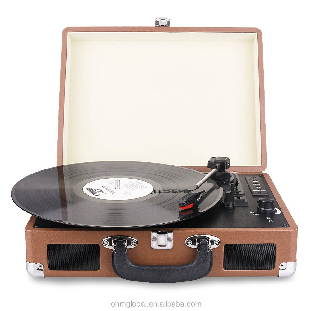 Bluetooth Turntable Portable Suitcase Record Player with Built-in Speakers, USB/SD Recorder,