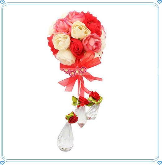 "3.15"" Pink Silk Rose Ball Flower Crystal Pendant Wedding Decoration,Wedding Gigt,Home Deco"