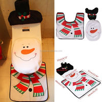 christmas ornament Happy Santa Snowman Toilet Seat Cover +Rug Bathroom Set Christmas Decorations