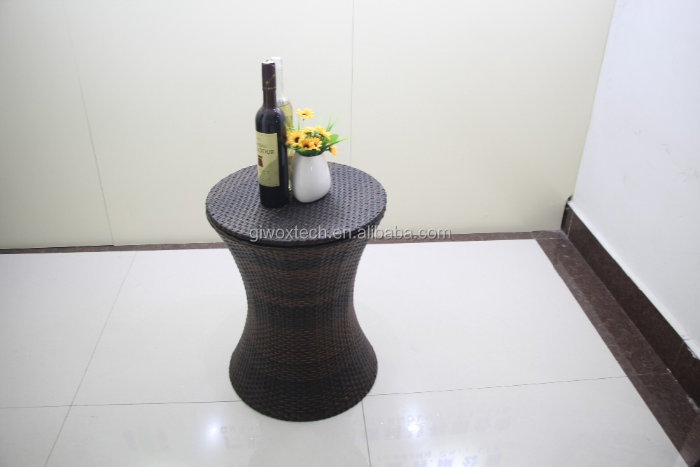 Round stainless steel ice bucket in rattan baskets and beverage ice chest cooler storage