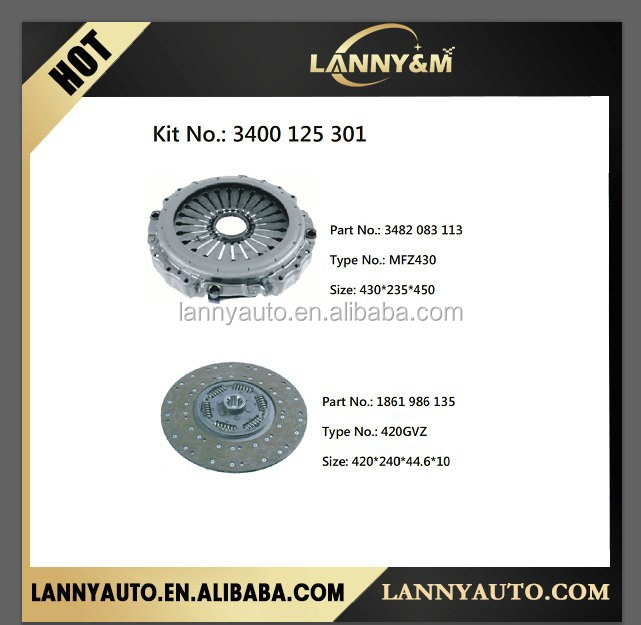 New products IVECO clutch kit 3400125301, clutch cover 3482083113 , clutch disc1861986135,bearing3151200101