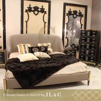 Wooden bed Shanghai manufacturerJB72-01 popular style upholstered beds from JL&C furniture(China supplier)