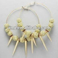 Bling Poparazzi Crystal Bead and Spike Basketball Wives Inspired Earrings