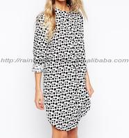 High quality longsleeve polka dot casual shirt dress
