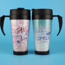 Plastic Unbreakable Double Layers Travel Mug With Insert Paper