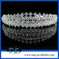 WEDDING JEWELRY Silver Tone Crystal Rhinestone Small flowers Tiara Crown