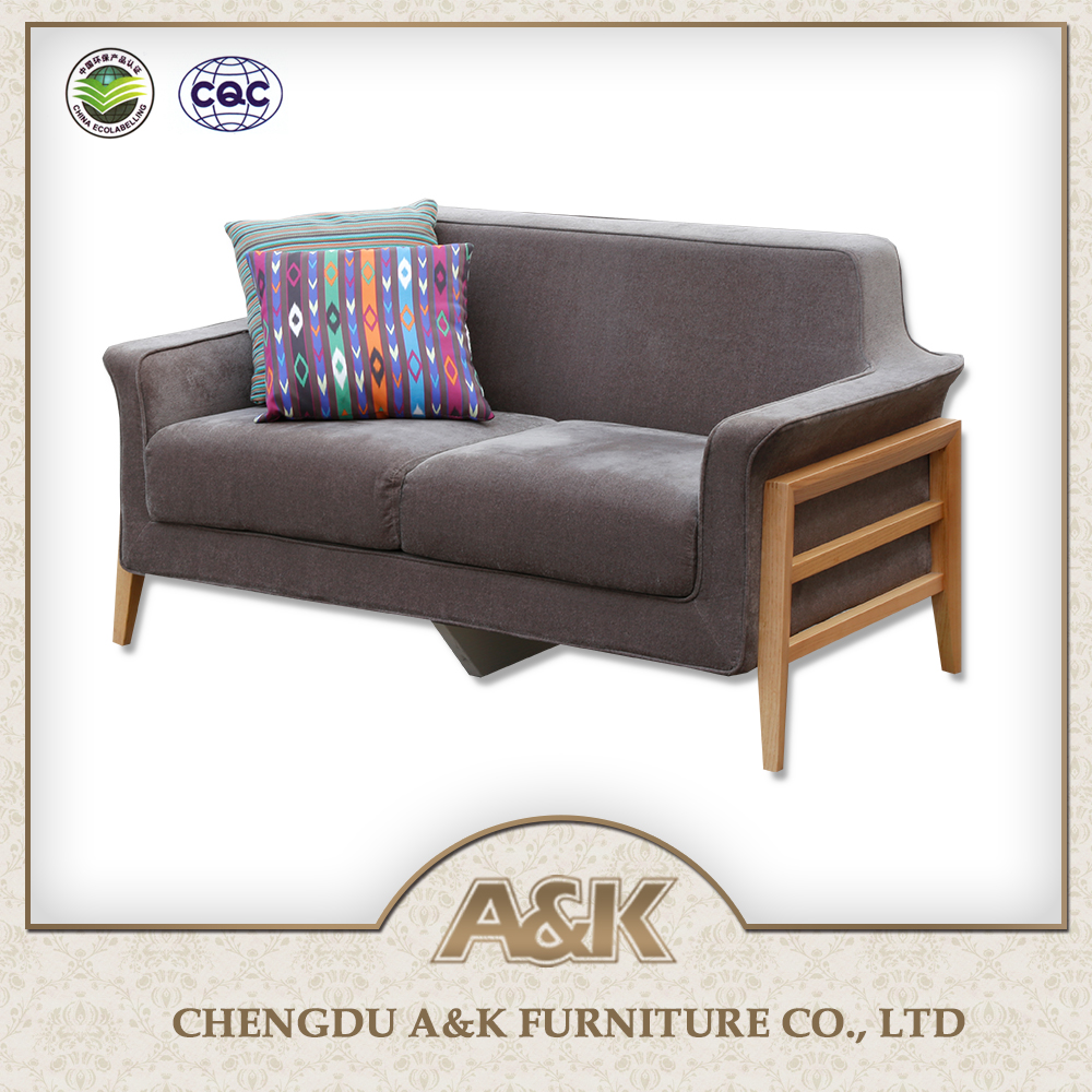 American Red Oak Solid Wood Simple and Modern Sofa Design 2 Seaters Wooden Sofa