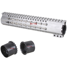 White Raw Aluminum Clamp Free Float Keymod Key Mod Quad Rail Handguard .223 5.56 AR-15 AR15 AR 15 Without Anodized Finish