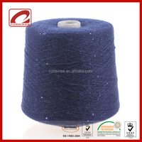 Fancy style twinkling wool alpaca nylon polyester blended yarn with sequins
